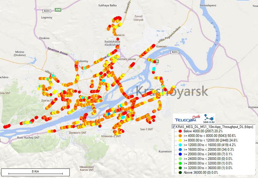 карта покрытия LTE Мегафона в Красноярске