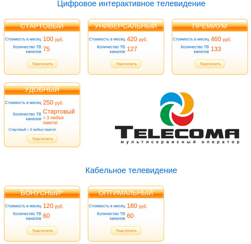 тарифы тв telecoma
