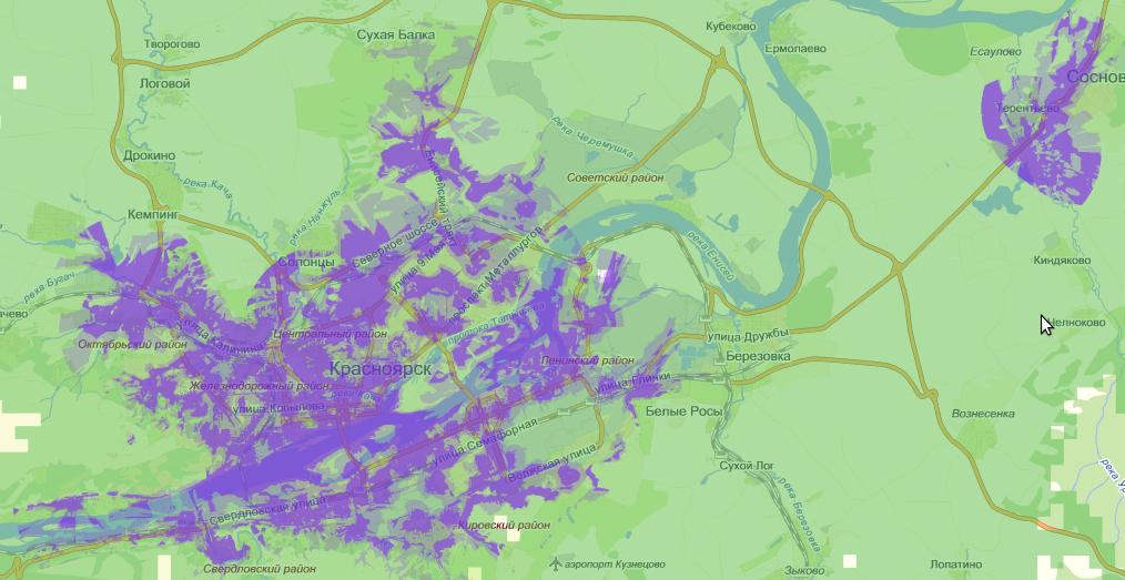 Карта покрытия LTE МегаФон