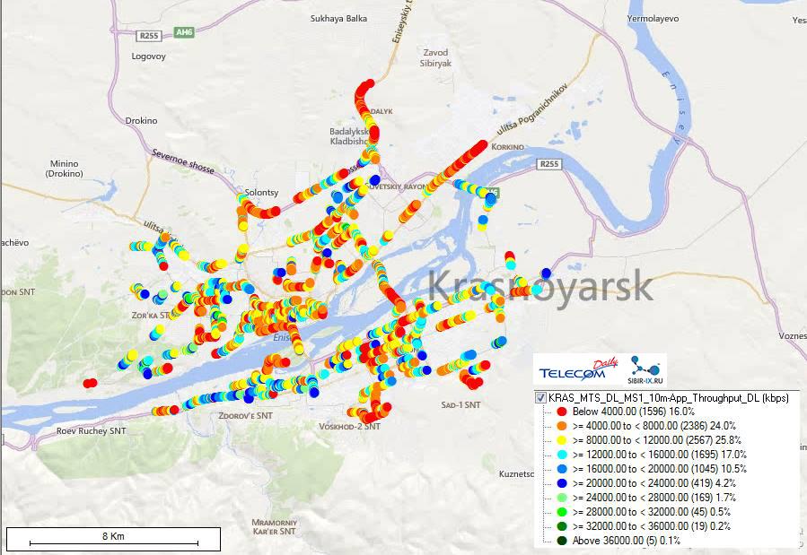 Покрытие LTE МТС в Красноярске
